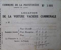H 1 Facture/document Entete Location Voiture Vachere Communale à La Poitevinière - Agricultura