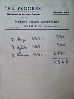 H 1 Facture/document Entete Mercerie à Chemillé - Sin Clasificación
