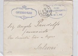 """1910 Busta In Franchigia  """"Carteggio Reale 5"""" Con Interno Da Roma A Salemi, Mancanza Al Retro. - Storia Postale"""