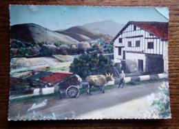 Carte Postale Ancienne Colorisée - Une Ferme En Pays Basque - Attelage Boeufs - Aquitaine