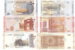 Syria - Set 3 Banknotes 50 + 100 + 200 Pounds 2009 / 2019 UNC Lemberg-Zp - Syria