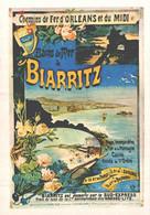 """VIEILLE AFFICHE PUBLICITAIRE Des Chemins De Fer  """"Bains De Mer De Biarritz""""  CPM MIC MAX - Trains"""
