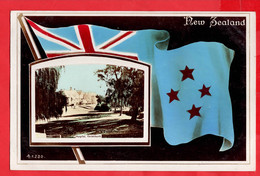 NEW ZEALAND    PATRIOTIC   FLAG + VIEW OF HOSPITAL CHRISTCHURCH   RP - New Zealand