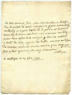Lettre 1744 De M. De Mollèges à Senchon Baron De Bournissac à Noves. Invitation Avec Marquise De St-Andiol. Truffes. - Manuscripts