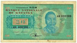 Katanga - 20 Francs - 21.11.1960 - Pick 6.a - Serie AR - Moise Tshombe - Otros – Africa