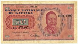 Katanga - 50 Francs - 10.11.1960 - Pick 7.a - Serie BB - Moise Tshombe - Otros – Africa