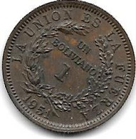 Bolivia 1 Bolivaino 1951  Km 184  Unc/ms63 - Bolivie