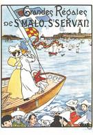 """VIEILLE AFFICHE PUBLICITAIRE Des Chemins De Fer  """"Grandes Régates De St Malo - St Servan""""   CPM MIC MAX - Trains"""