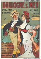 """VIEILLE AFFICHE PUBLICITAIRE Des Chemins De Fer  """"Boulogne Sur Mer""""    CPM MIC MAX - Trains"""