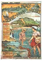 """VIEILLE AFFICHE PUBLICITAIRE Des Chemins De Fer  """"Plages De La Baie Du Mont St Michel""""    CPM MIC MAX - Trains"""