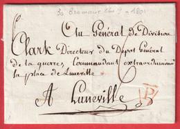 MARQUE P DE PARIS ADRESSEE AU GENERAL CLARKE LUNEVILLE MEURTHE ET MOSELLE AN7 1799 MARECHAL EMPIRE MARQUE ARRIVE 4 - 1801-1848: Precursori XIX