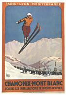 """VIEILLE AFFICHE PUBLICITAIRE Des Chemins De Fer """"Chamonix - Mont-Blanc""""    CPM MIC MAX - Trains"""