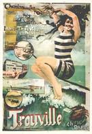 """VIEILLE AFFICHE PUBLICITAIRE Des Chemins De Fer """"Trouville""""   CPM MIC MAX - Trains"""