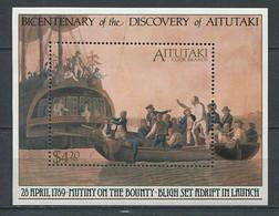 299 AITUTAKI 1989 - Yvert BF 72 - Capitaine Bligh Bounty Bateau - Neuf ** (MNH) Sans Charniere - Aitutaki