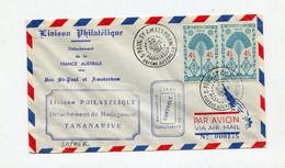 !!! TAAF, LETTRE PAR AVION DE ST PAUL ET AMSTERDAM DU 22/3/1954 - ...-1955 Prefilatelia