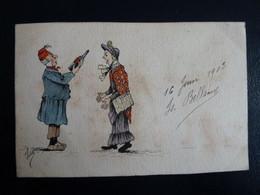 CPA Dessinée Main Ro/Vo Signée Isa Bellamy 1903 Chateau De Grandmaisons Unverre 28 - Dispute Pour Une Bouteille - Andere Zeichner