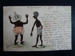 CPA Dessinée Main Ro/Vo Signée Isa Bellamy 1903 Chateau De Grandmaisons Unverre 28 - Laurel Et Hardy Noirs! - Andere Zeichner