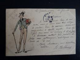 CPA Dessinée Main Ro/Vo Signée Isa Bellamy 1904 Chateau De Grandmaisons Unverre 28 - Avocat Juge Dandy - Andere Zeichner