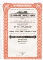 Titre Ancien - Royaume De Belgique - Colonie Du Congo - Société Des Chemins De Fer Vicinaux Du Congo - Titre De 1953 - Railway & Tramway