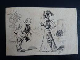 CPA Dessinée Main Ro/Vo Signé Rieu Ou Drieu - Non Voyagé  - Demande En Mariage Humoristique - Andere Zeichner