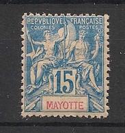Mayotte - 1892 - N°Yv. 6 - Type Groupe 15c Bleu - Neuf Luxe ** / MNH / Postfrisch - Ungebraucht