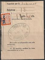1936. º Edifil: AYUNTAMIENTO DE BARCELONA TELEGRAFOS 5. Resguardo De Envío Telegráfico - Barcelone