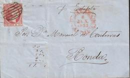 1853-CARTA-Edifil: 17. ISABEL II. MALAGA A RONDA. Matasello PARRILLA, En El Frente Baeza MALAGA - Lettres & Documents