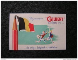 PAPIER BUVARD Crayon GILBERT Crayons Publicité Publicitaire Industrie Usine Belgique Hastière Givet Drapeau Belgique - G
