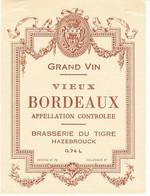 Etiquette De Vin De BORDEAUX, De La BRASSERIE DU TIGRE à HAZEBROUCK (NORD 59) - RARE - Bordeaux