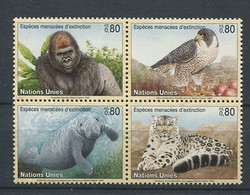299 NATIONS UNIES 1993 (ONU) Yvert G 243/46 - Rapace Singe Panthere ... Protection Nature - Neuf ** (MNH) Sans Charniere - Nuevos