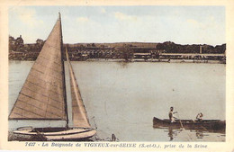 78 - VIGNEUX Sur SEINE : La Baignade Prise De La Seine ( Voilier En 1er Plan ) - CPA  - Yvelines - Otros Municipios