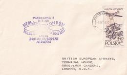 Opening Of BEA Service Between Warszawa -Varsovie - And London 8/04/1958 - Cachets Varsovie Et Londres - Airplanes