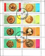 39767) Nagaland 1 FEBBRAIO 1973 MONETE Souvenir Foglio Di 8 VALORI CTO -USATI - Asia (Other)