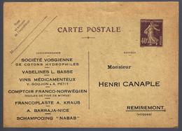 ENTIER POSTAL - 40c SEMEUSE CAMÉ - REPIQUAGE - REMIREMONT VOSGES - Postales  Transplantadas (antes 1995)