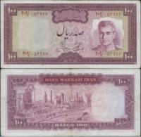 PERSIA PERSE IRAN ,Banknotes1964 Mohammad Reza Shah Pahlavi,SIGNATURE:Jamshid Amuzegar,100 Rial,Used Well Preserved - Iran