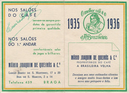 PORTUGAL BRAGA - CALENDAR POCKET 1936 . CAFÉ A BRASILEIRA VELHA - TIMETABLE TRAIN - BRAGA To PORTO - COFFEE ADVERTISING - Europe
