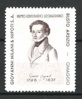 Reklamemarke Dichter Giacomo Leopardi 1798-1837, Primo Centenario Leopardiano, Giovanni Milani & Nipoti S.A. - Cinderellas