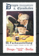 Künstler-Reklamemarke Berlin, III. Fachausstellung Droga 1914, Professor Mit Reagenzgläsern - Cinderellas