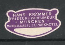 Reklamemarke Friseur Und Parfümerie Hans Krämmer, Maximiliansplatz 21, München - Cinderellas