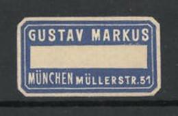Reklamemarke Gustav Markus, Müllerstr. 51, München - Cinderellas