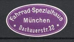 Reklamemarke Fahrrad-Spezialhaus, Dachauerstr. 32, München - Cinderellas