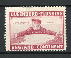 Reklamemarke Queenboro-Flushing, Two Sailings Daily, Kapitän Der SM Zeeland - Cinderellas