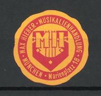 Präge-Reklamemarke Musikalienhandlung Max Hieber, Marienplatz 18, München, Firmenlogo - Cinderellas
