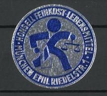 Präge-Reklamemarke Honsell Feinkost-Lebensmittel, Emil Riedelstr. 1, München, Firmenlogo - Cinderellas