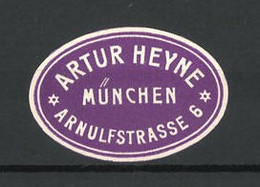 Reklamemarke Arthur Heyne, Arnulfstrasse 6, München - Cinderellas