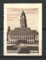 Reklamemarke Dresden, Rathaus, Schwerter Chocolade & Cacao V. Riedel & Engelmann - Cinderellas