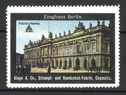 Reklamemarke Berlin, Passanten Vor Dem Zeughaus, Strumpf- Und Handschuh-Fabrik Kluge & Co., Chemnitz - Cinderellas