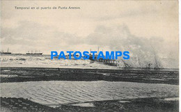 157830 CHILE PUNTA ARENAS TEMPORAL EN EL PUERTO PORT & SHIP POSTAL POSTCARD - Chile