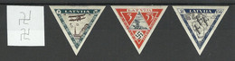 Lettland LATVIA 1933 Michel 225 - 227 B * All Stamps With Watermark Inverted Vertical - Latvia