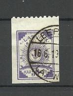 LETTLAND Latvia Michel 22 Vertically Ribbed Paper/senkrecht Geriffeltes Papier Perf 9 3/4 At Top Margin O - Lettonia